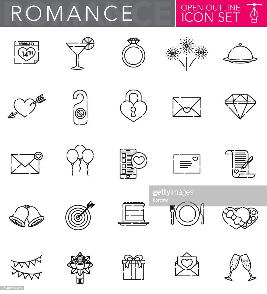 Romance Open Outline Icon Set