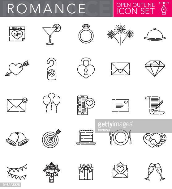 Romance Open Outline Icon Set