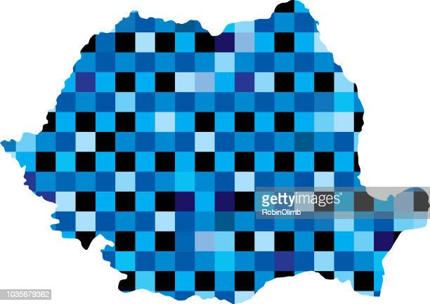 Romania Blue Squares Map