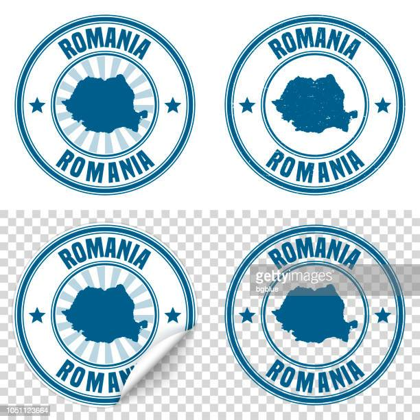 Romania - Blue sticker and stamp with name and map