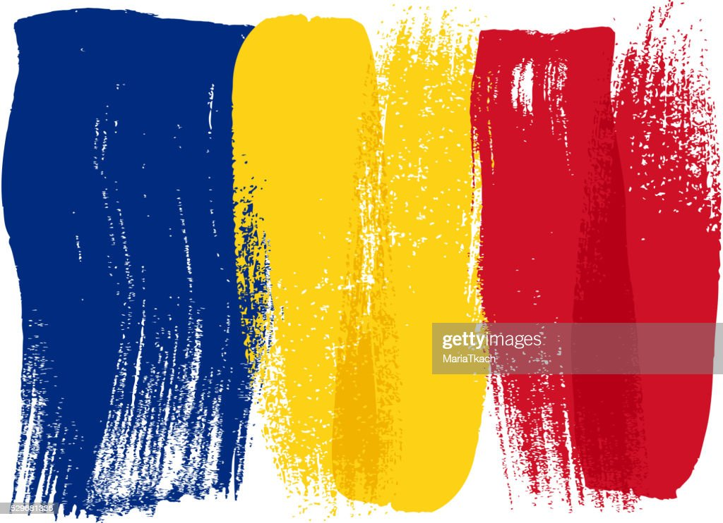 Romania colorful brush strokes painted flag