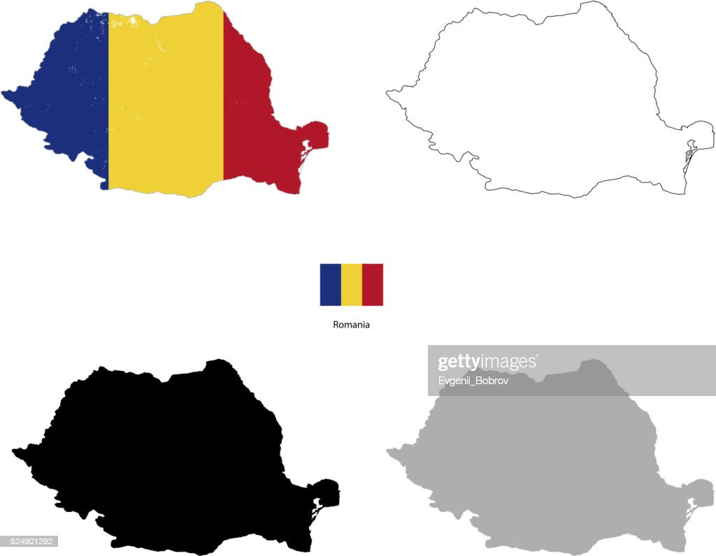 Romania country black silhouette and with flag on background