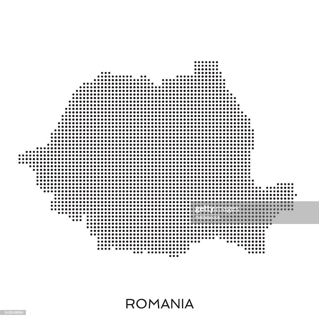 Romania dot halftone pattern map