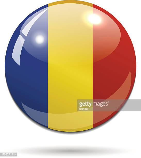 Romania flag button on white background with shadow