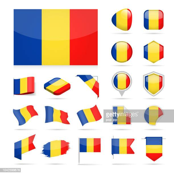 Romania - Flag Icon Glossy Vector Set