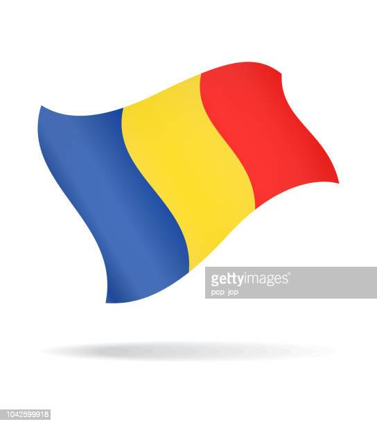 Romania - Flying Flag Vector Glossy Icon
