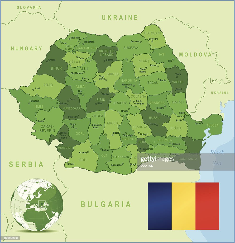 Romania - green highly detailed map