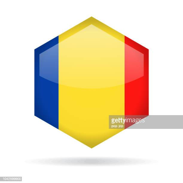 Romania - Hexagon Flag Vector Glossy Icon