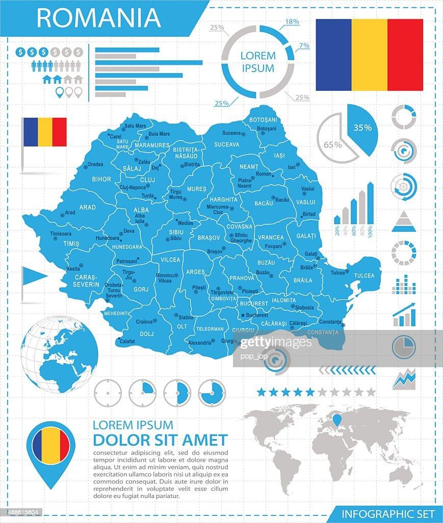 Romania - infographic map - Illustration
