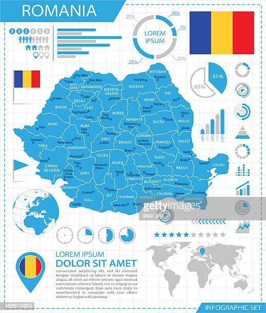 romania - infographic map - illustration - romania stock illustrations