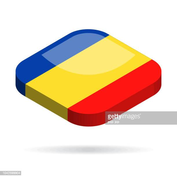 Romania - Isometric 3D Flag Vector Glossy Icon