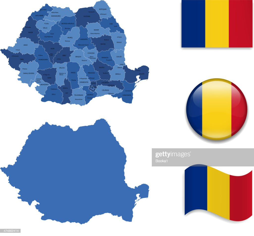 Romania Map and Flag Collection