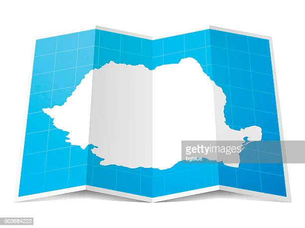 Romania Map folded, isolated on white Background