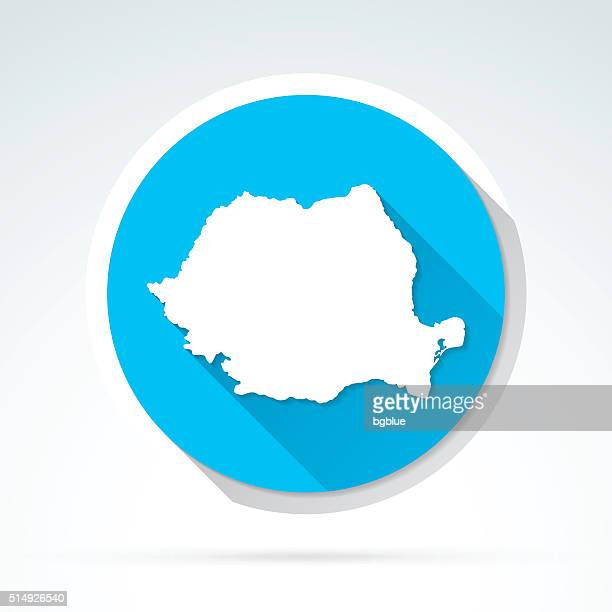 Romania map icon, Flat Design, Long Shadow