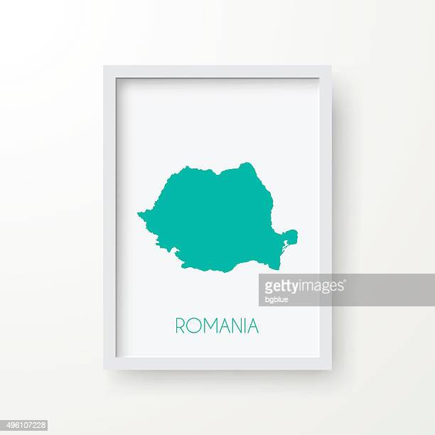 Romania Map in Frame on White Background