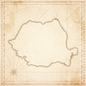 Romania map in retro vintage style - old textured paper