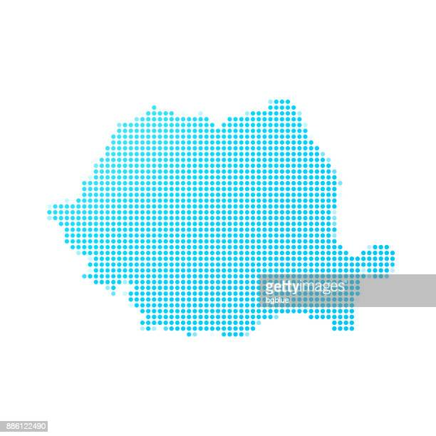 Romania map of blue dots on white background