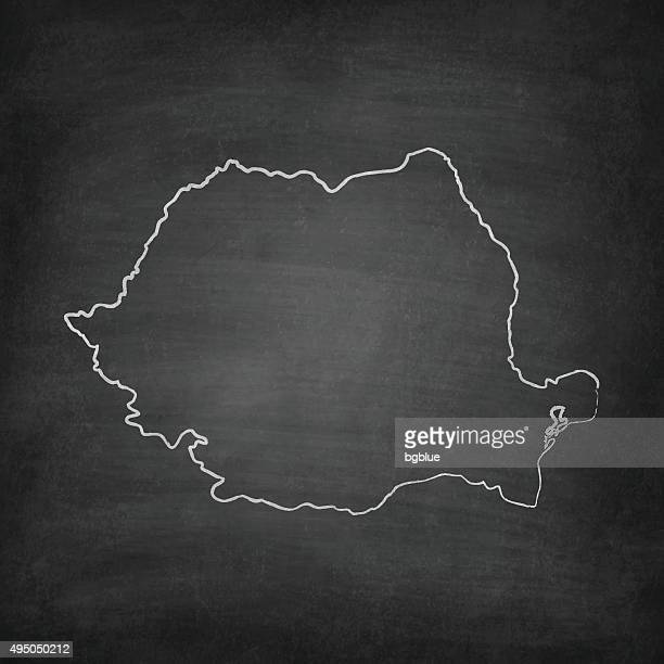 Romania Map on Blackboard - Chalkboard