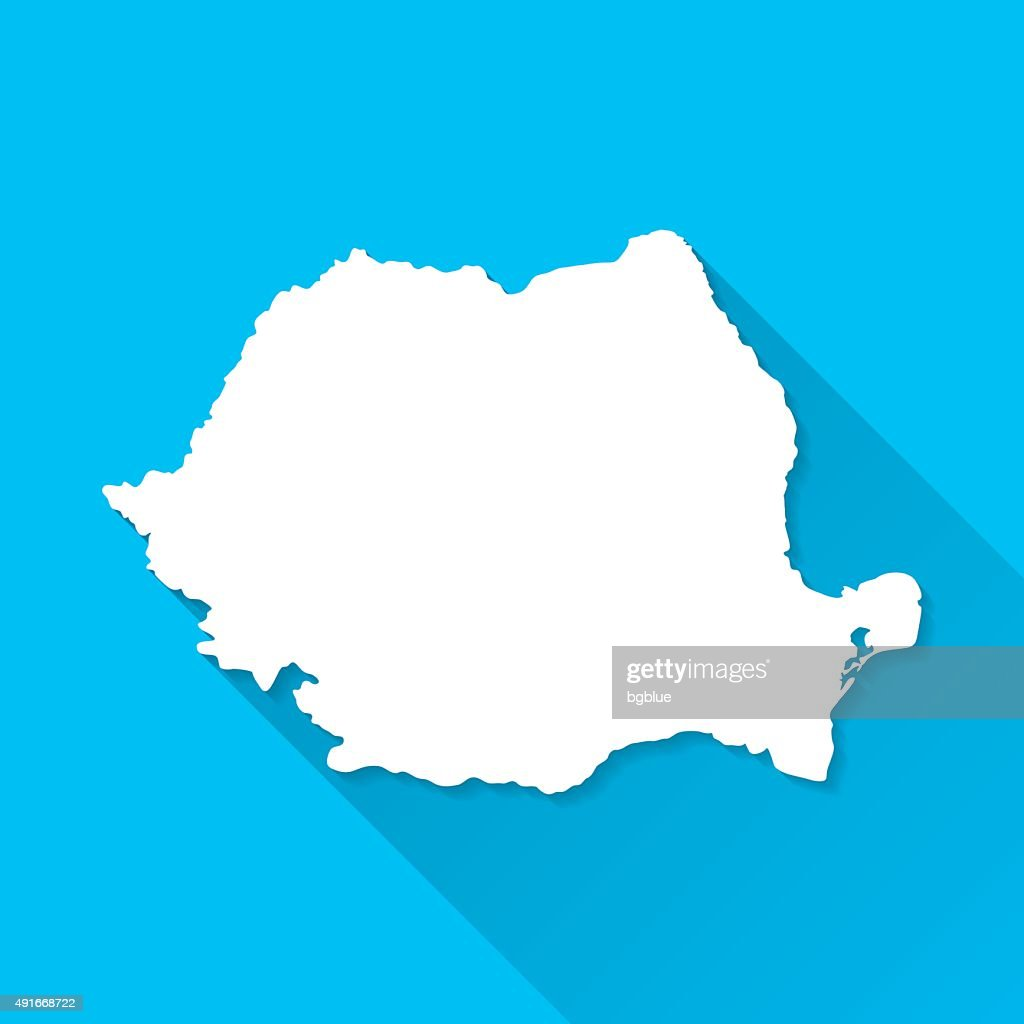 Romania Map on Blue Background, Long Shadow, Flat Design