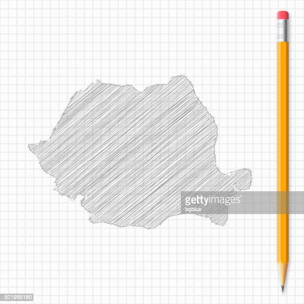 Romania map sketch with pencil on grid paper