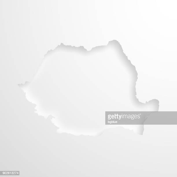 Romania map with embossed paper effect on blank background