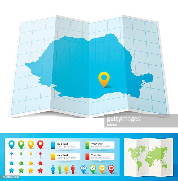 Romania Map with location pins isolated on white Background