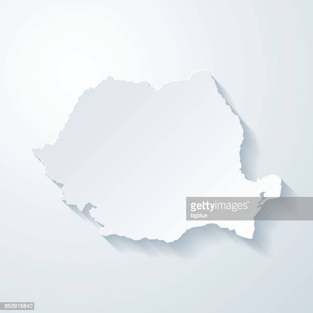 Romania map with paper cut effect on blank background