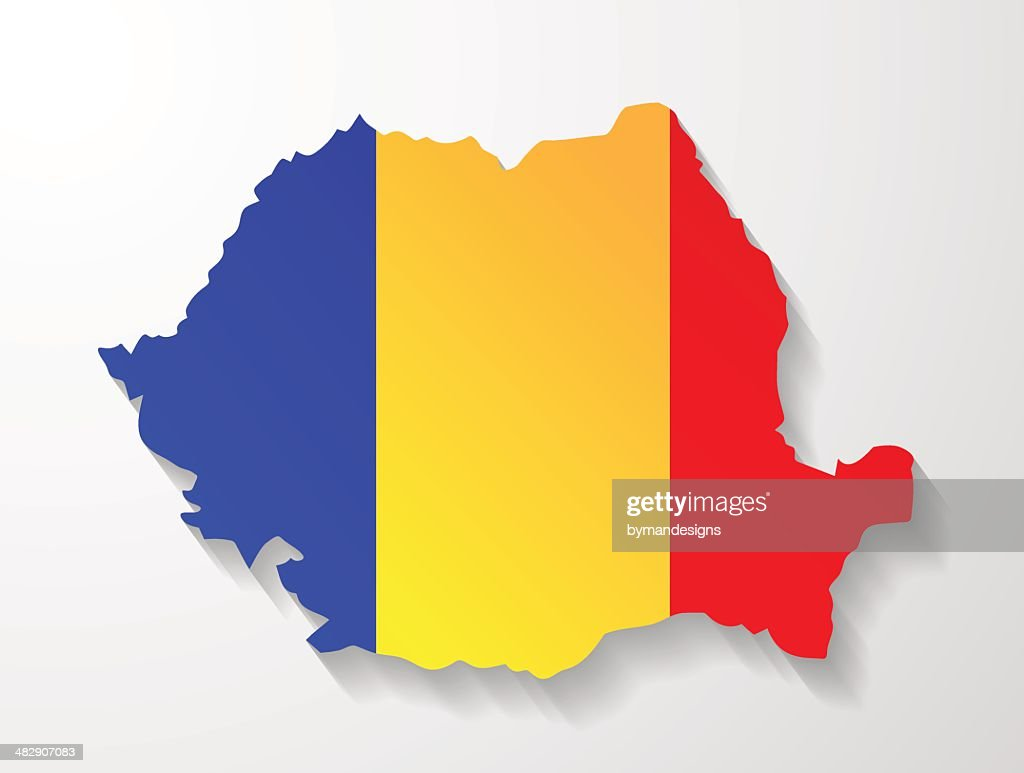 Romania map with shadow effect presentation