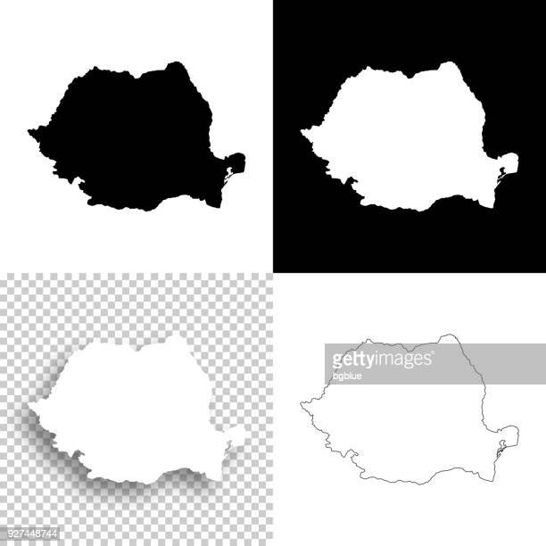 Romania maps for design - Blank, white and black backgrounds