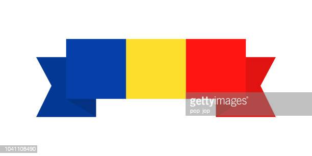 Romania - Ribbon Flag Vector Flat Icon