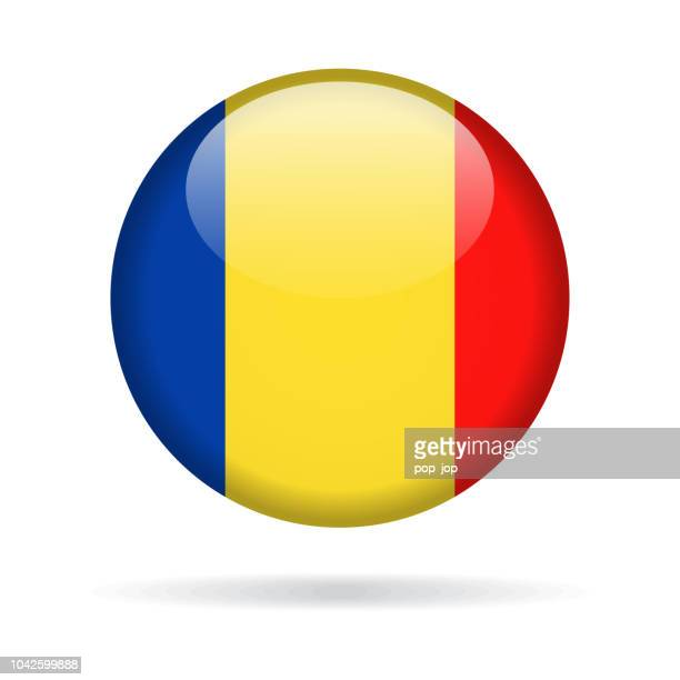 Romania - Round Flag Vector Glossy Icon