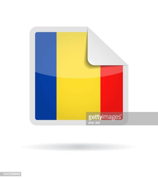 Romania - Square Paper Corner Flag Vector Glossy Icon