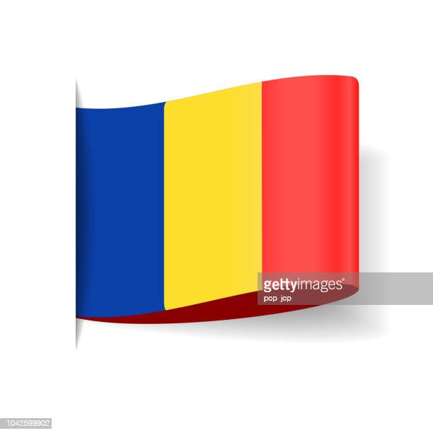 Romania - Tag Label Flag Vector Flat Icon