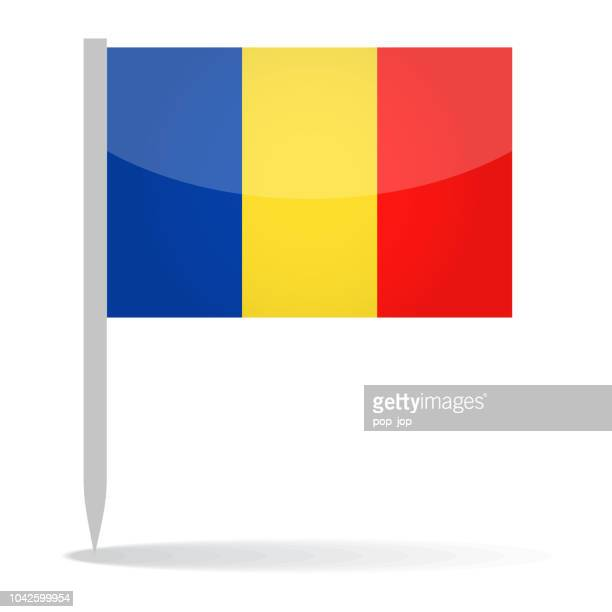 Romania - Vector Flag Pin Glossy Icon