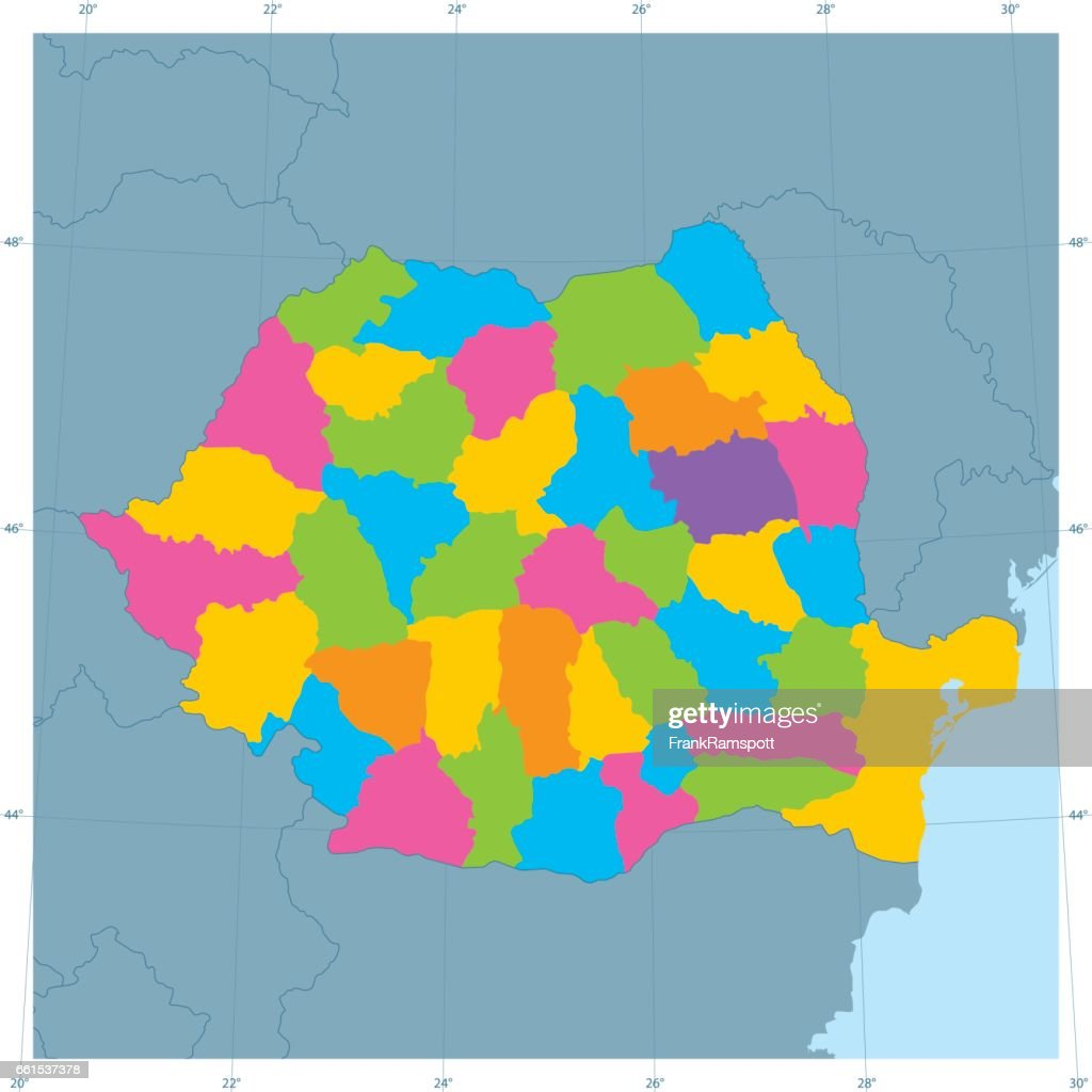 Romania Vector Map Colorful Administrative Divisions Vector Art