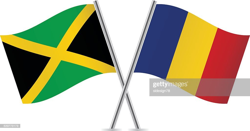 Romanian and Jamaican flags. Vector.