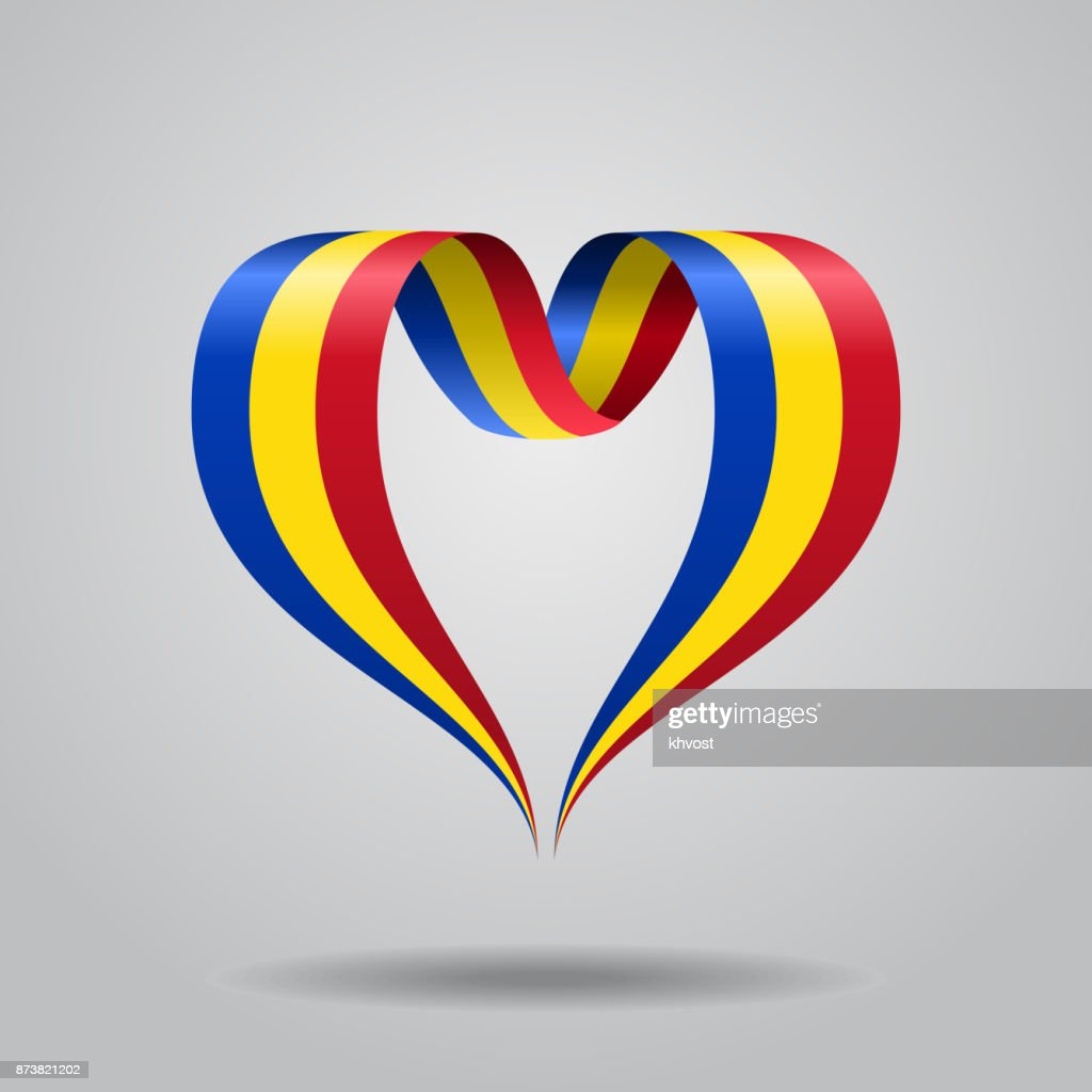 Romanian flag heart-shaped ribbon. Vector illustration.