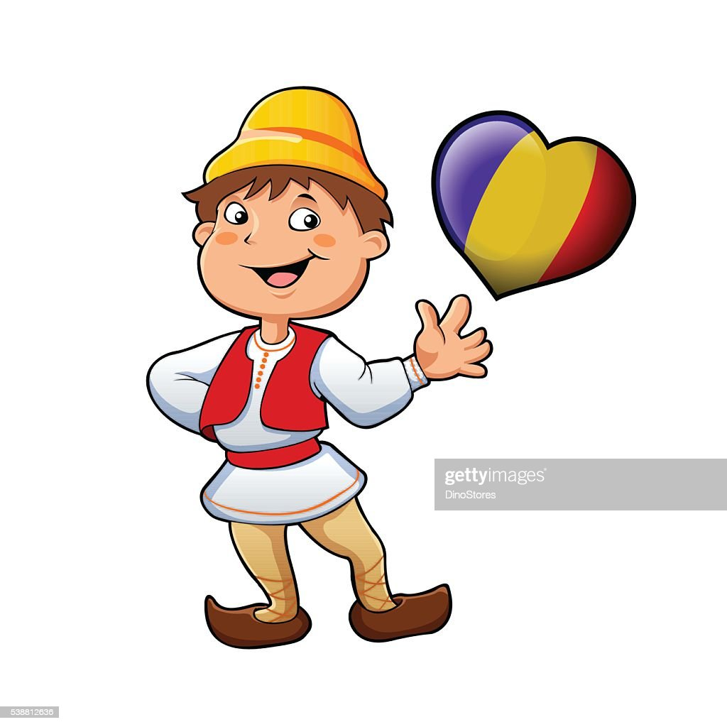 Romanian in typical clothing and the heart