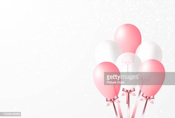 many white pink balloons with pink