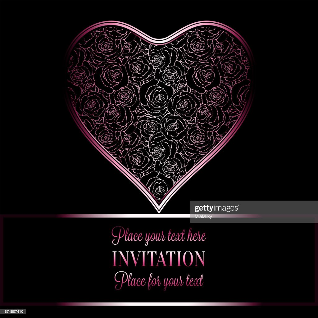 Luxury Black Metal Pink Vintage Card Victorian Banner Heart Made Of Roses Wallpaper Ornaments Invitation Baroque Style Booklet With Text