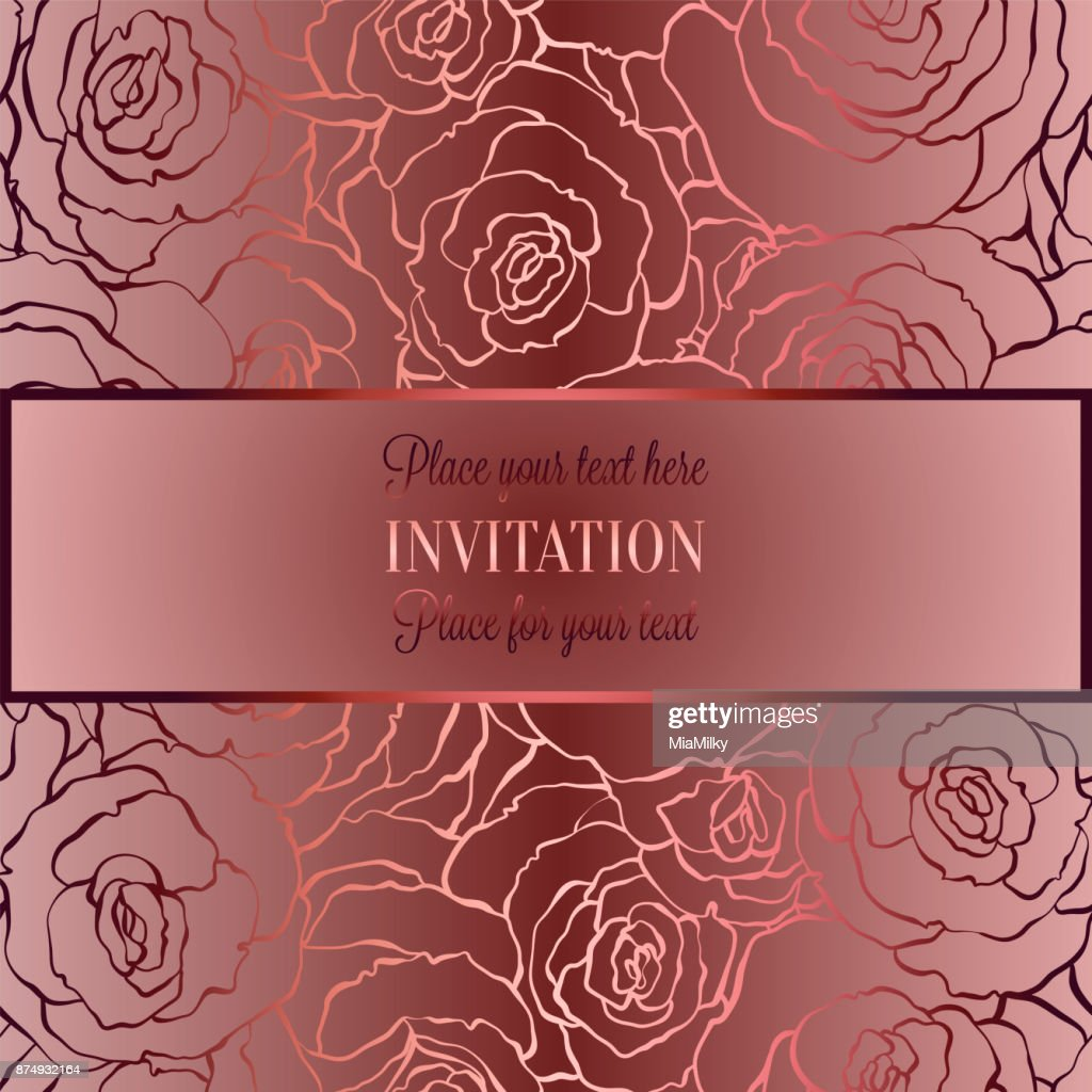 Romantic Background With Antique Luxury Pastel Red Vintage Card With ...