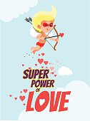 Romantic card with cupid as superhero aiming at his goal.