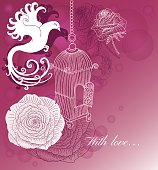 Romantic card with vintage cage, bird and roses