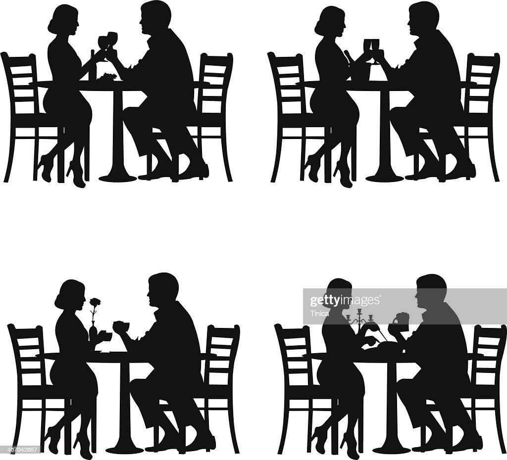 Romantic couple in dinner