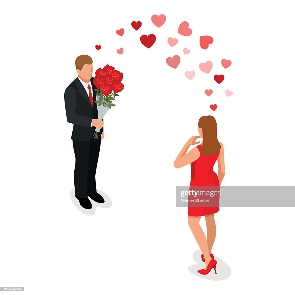 Romantic couple in love meeting. Isometric people
