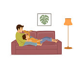romantic couple in love relaxing on the couch at home isolated vector illustration