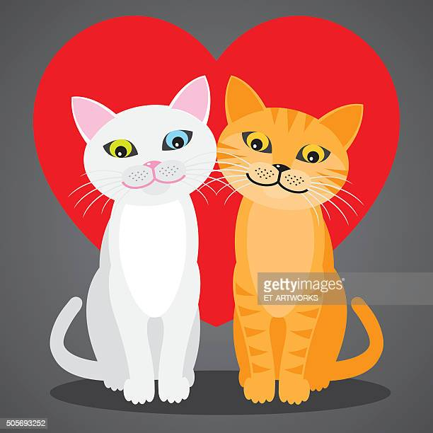 Romantic couple of two loving cats. Vector