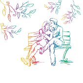 Romantic  couple on a bench in the park. Sketchy style.
