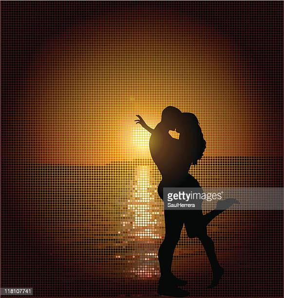 romantic couple sunset - human sexual behavior stock illustrations, clip art, cartoons, & icons