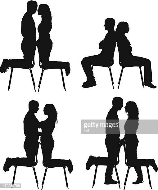 romantic couple - back to back stock illustrations, clip art, cartoons, & icons